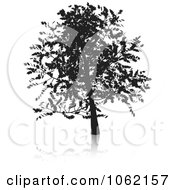 Clipart Oak Tree Silhouetted Royalty Free Vector Illustration