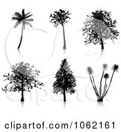 Clipart Tree Silhouettes Digital Collage Royalty Free Vector Illustration