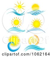 Clipart Summer Suns And Ocean Waves Digital Collage Royalty Free Vector Nature Illustration