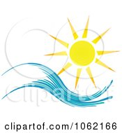 Clipart Summer Sun And Ocean Wave 1 Royalty Free Vector Nature Illustration by KJ Pargeter #COLLC1062166-0055