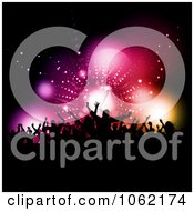 Clipart Silhouetted Crowd Against Flares Royalty Free Vector Illustration