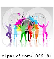 Clipart Colorful Silhouetted Dancers With Grunge And Speakers Royalty Free Vector Illustration