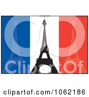 Clipart Eiffel Towers Over French Flag Royalty Free Vector Travel Illustration