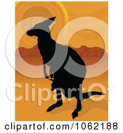 Clipart Kangaroo And Joey Silhouette In The Outback Royalty Free Vector Aussie Illustration