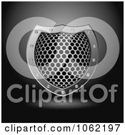 Clipart 3d Metal Grid Shield Royalty Free Vector Illustration by michaeltravers