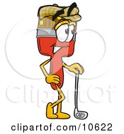 Clipart Picture Of A Paint Brush Mascot Cartoon Character Leaning On A Golf Club While Golfing by Toons4Biz