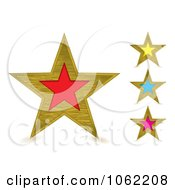 Clipart Brushed Metal Stars Digital Collage Royalty Free Vector Illustration by michaeltravers