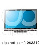 Clipart 3d Black Lcd Television With A Blue Screen Royalty Free Vector Illustration