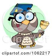 Clipart Professor Owl Ringing A Bell 2 Royalty Free Vector Illustration