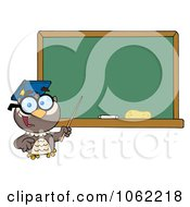 Clipart Professor Owl And Chalk Board Royalty Free Vector Illustration by Hit Toon