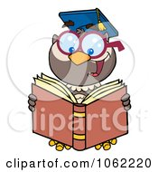 Clipart Professor Owl Reading Royalty Free Vector School Illustration by Hit Toon