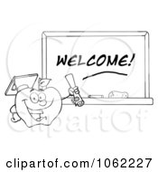 Clipart Outlined Professor Apple And Diploma By Welcome Chalkboard Royalty Free Vector Illustration