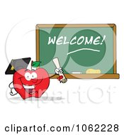 Clipart Professor Apple And Diploma By Welcome Chalkboard Royalty Free Vector Illustration