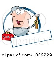 Clipart Handy Man With Tool Box And Banner Royalty Free Vector Illustration by Hit Toon