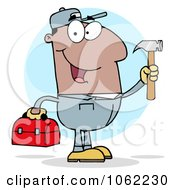 Clipart Black Construction Worker With Tools Royalty Free Vector Illustration by Hit Toon