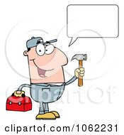 Clipart Talking Handy Man With Tool Box Royalty Free Vector Illustration by Hit Toon