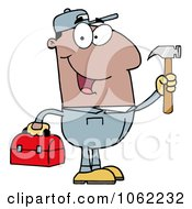 Clipart Black Repair Man With Tools Royalty Free Vector Illustration by Hit Toon