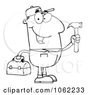 Clipart Outlined Repair Man With A Hammer And Tool Box Royalty Free Vector Illustration by Hit Toon