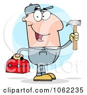 Clipart Handy Man With Tool Box 2 Royalty Free Vector Illustration by Hit Toon