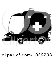 Clipart Black And White Ambulance Royalty Free Vector Illustration by Hit Toon