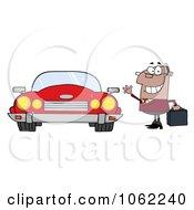 Clipart Black Commuter Businessman And Converitble Car Royalty Free Vector Automotive Illustration