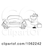 Outlined Businessman And Convertible Car