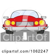 Clipart Red Convertible Car On A Road Royalty Free Vector Automotive Illustration by Hit Toon