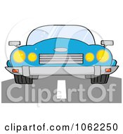Clipart Blue Convertible Car On A Road Royalty Free Vector Automotive Illustration by Hit Toon