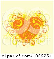 Clipart Orange Floral Heart Royalty Free Vector Illustration