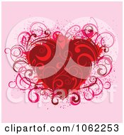Clipart Red Floral Heart Royalty Free Vector Illustration