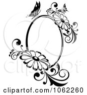 Clipart Butterfly Daisy Frame In Black And White Royalty Free Vector Illustration