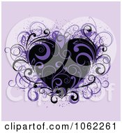 Clipart Purple Floral Heart Royalty Free Vector Illustration