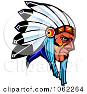 Clipart Native American Warrior With Headdress Royalty Free Vector Illustration by Vector Tradition SM