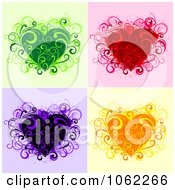 Clipart Floral Hearts Digital Collage Royalty Free Vector Illustration