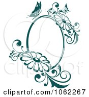 Clipart Butterfly Daisy Frame In Teal Royalty Free Vector Illustration