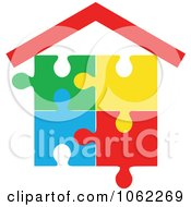Clipart Puzzle House Royalty Free Vector Illustration