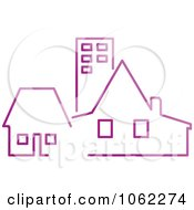 Clipart Purple Buildings Royalty Free Vector Illustration