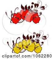 Clipart Hibiscus Flower Banners Digital Collage Royalty Free Vector Illustration