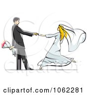 Clipart Dancing Wedding Couple 2 Royalty Free Vector Illustration