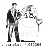 Clipart Wedding Couple In Black And White Royalty Free Vector Illustration