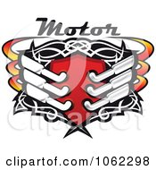 Clipart Shield With Mufflers And Motor Text Royalty Free Vector Illustration by Vector Tradition SM
