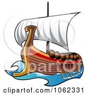 Clipart Viking Ship At Sail Royalty Free Vector Illustration