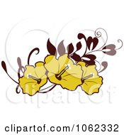 Clipart Yellow Hibiscus Flower Banner Royalty Free Vector Illustration