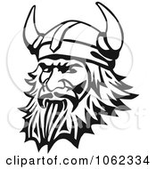 Clipart Viking Man In Black And White Royalty Free Vector Illustration by Vector Tradition SM