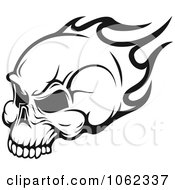 Clipart Black And White Flaming Skull Logo 3 Royalty Free Vector Illustration