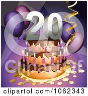 Clipart 3d 20th Birthday Or Anniversary Party Cake Royalty Free Vector Illustration