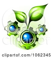 Clipart 3d Gears With Organic Leaves Royalty Free Vector Illustration by Oligo #COLLC1062345-0124