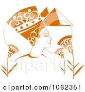 Egyptian Pharaoh With Pyramids And Flowers