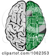 Clipart Half Human Half Circuit Board Brain Royalty Free Vector Illustration