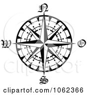 Clipart Compass Rose In Black And White 1 Royalty Free Vector Illustration